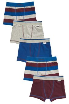 Plum/Grey/Blue Stripe Trunks Five Pack (2-16yrs)
