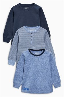 Blue Long Sleeve Tops Three Pack (3mths-6yrs)
