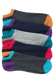 Multi Contrast Heel And Toe Trainer Socks Five Pack