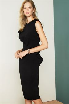 Black Ruffle Detail Tailored Dress