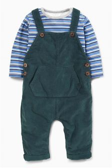 Teal Cord Dungarees (0mths-2yrs)