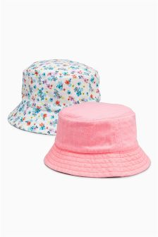 Coral/Ditsy Fisherman Hats Two Pack (Younger Girls)