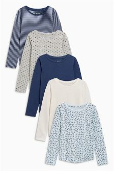 Blue Long Sleeve Tops Five Pack (3-16yrs)