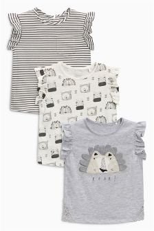 Monochrome Lion T-Shirts Three Pack (3mths-6yrs)