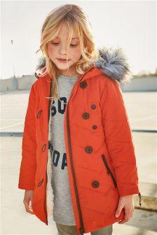 Orange Long Padded Jacket (3-16yrs)