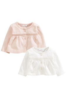 Ecru/Pink Jersey Cardigans Two Pack (0mths-2yrs)
