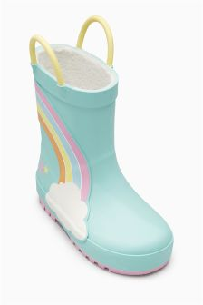 Turquoise Rainbow Wellies (Younger Girls)