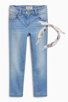 Light Blue Skinny Jeans With Headband (3-16yrs)