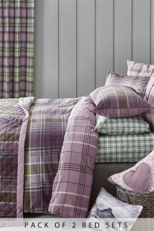 2 Pack Norway Check Bed Set