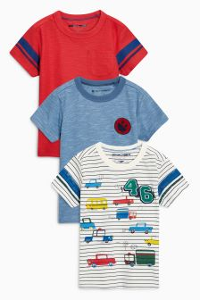 Ecru Short Sleeve Car T-Shirts Three Pack (3mths-6yrs)