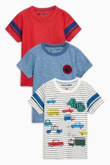Ecru Short Sleeve Car T-Shirts Three Pack (3mths-6yrs)
