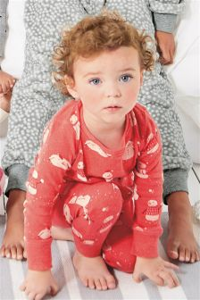 Red Snowman And Penguin Snuggle Pyjamas (9mths-8yrs)