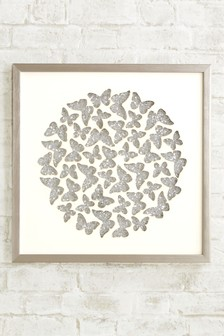 Silver Effect Sparkle Sequin Butterfly Frame