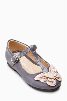 Grey Butterfly T-Bar Shoes (Younger Girls)
