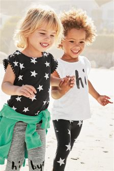 Black/Ecru Frill T-Shirts Two Pack (3mths-6yrs)