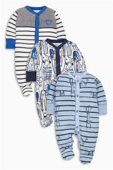 Blue Monkey Sleepsuits Three Pack (0mths-2yrs)