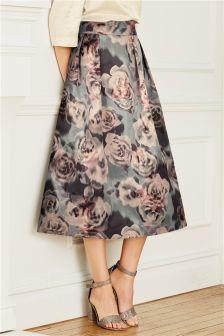 Grey Floral Full Skirt