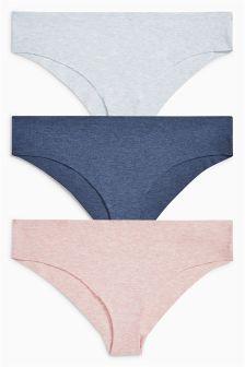 Blue/Pink Cotton Free Cut Brazilian Briefs Three Pack