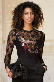 Black Embroidered Long Sleeve Top