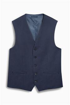 Blue Shiny Slim Fit Suit: Waistcoat