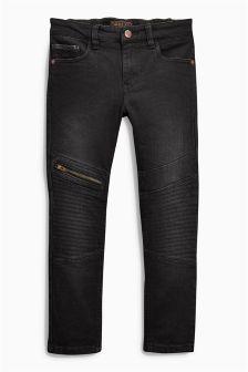 Skinny-Jeans im Bikerlook, schwarz (3-16 Jahre)