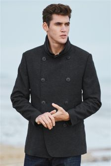 Charcoal Moleskin Pea Coat