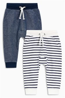 Navy/White Striped Joggers Two Pack (3mths-6yrs)