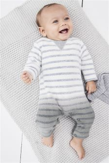Grey Stripe Dip Dye Romper (0mths-2yrs)