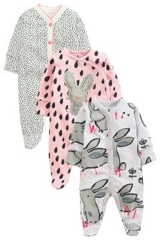 Grey/Pink/White Dreamer Bunny Sleepsuits Three Pack (0mths-2yrs)