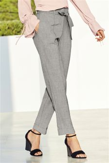 Grey Belted High Waist Taper Trousers
