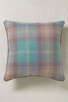 Large Teal Stirling Woven Check Cushion