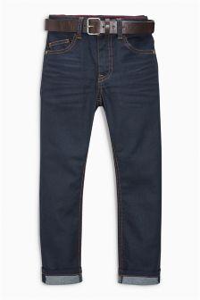 Denim Rinse Regular Coated Belted Jeans (3-16yrs)