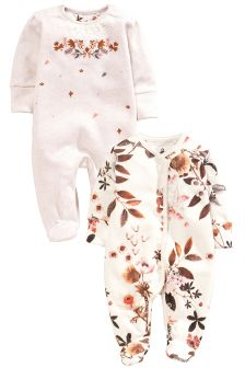 Ecru Alpine Floral Sleepsuits Two Pack (0mths-2yrs)