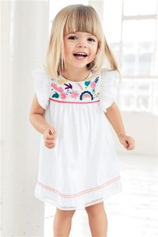 White Embroidered Dress (3mths-6yrs)