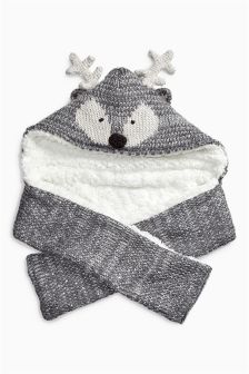Grey Deer Hat Scarf (Older Girls)