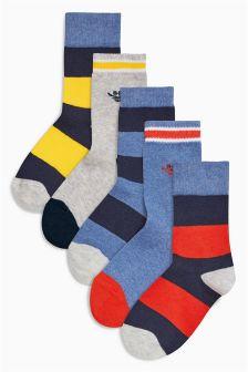 Red/Blue Stripe Socks Five Pack (Older Boys)