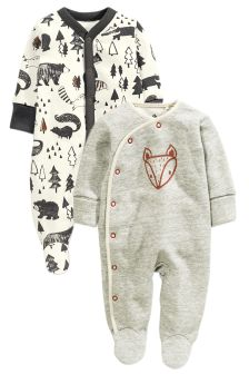 Grey Alpine Fox Sleepsuits Two Pack (0mths-2yrs)