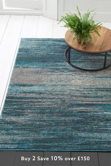 Abstract Teal Stripe Rug