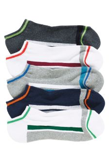 Multi Cushioned Footbed Trainer Socks Five Pack