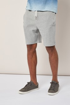Grey Textured Jersey Shorts