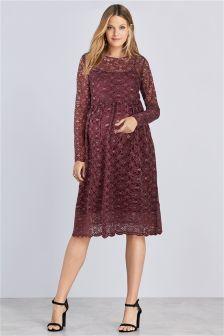 Berry Maternity Lace Dress
