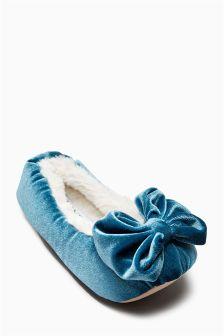 Velvet Bow Ballerina Slippers (Older Girls)