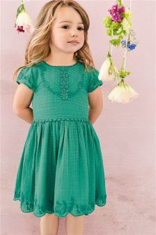 Green Embroidered Detail Dress (3mths-6yrs)