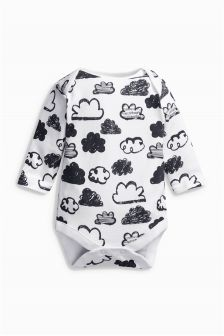 Monochrome Cloud Print Long Sleeve Bodysuit (0-18mths)