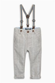 Stone Linen Rich Formal Trousers With Detachable Braces (3mths-6yrs)