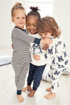 Navy/White Rabbit Snuggle Pyjamas Three Pack (9mths-8yrs)