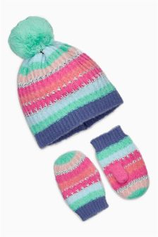 Multi Pastel Stripe Beanie And Mittens Set (Younger Girls)