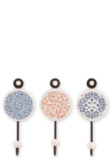 Set Of 3 Ceramic Hooks