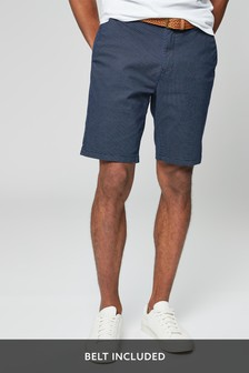Navy Belted Printed Chinos