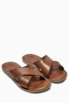 Tan Leather Cross Strap Sandal